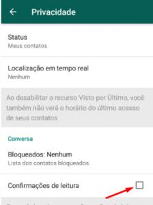 Indicação de configurações de WhatsApp