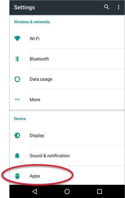 configurações do seu dispositivo android