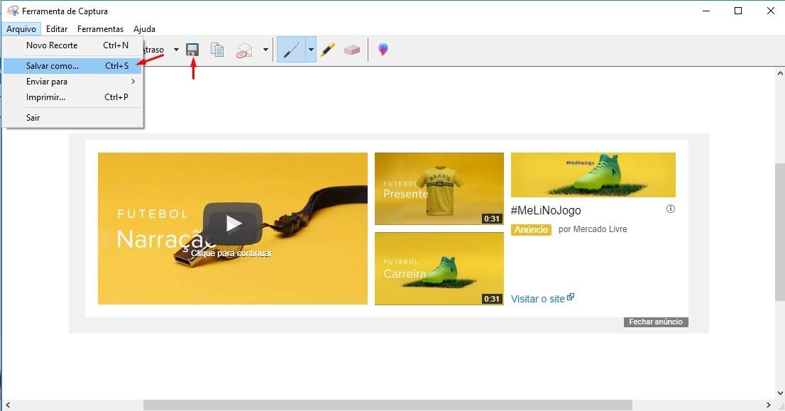 A Ferramenta de Captura faz uma captura de tela de qualquer item da sua área de trabalho, como uma foto ou uma seção de página da Web