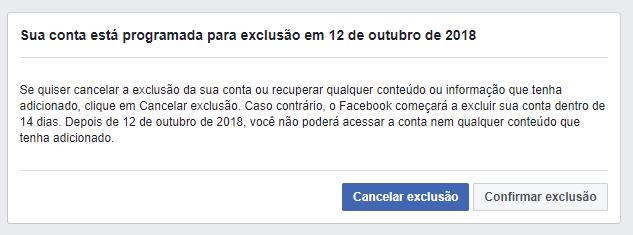 Cancelar a exclusão de uma conta Facebook