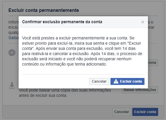 Tela final para excluir a conta do Facebook