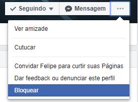 Passo inicial para denunciar um perfil do Facebook