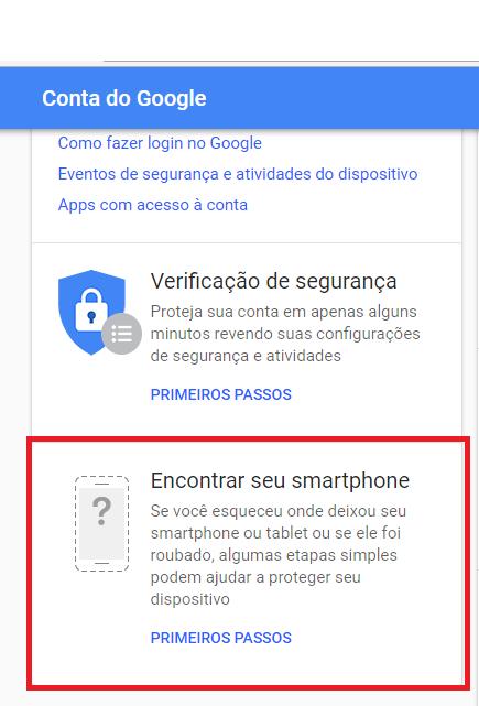 Terceiro passo para rastrear pela conta Google