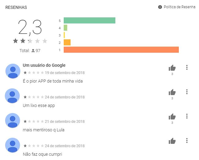 Exemplo de resenhas negativas Play Store