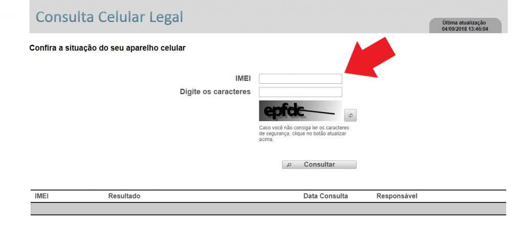 Inserir o número do IMEI na página da Anatel para consulta