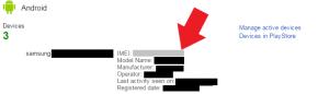 Acessando o Google Dashboard para descobrir o IMEI do celular.