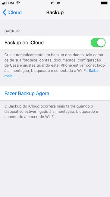 Fazer backup de dados no iPhone