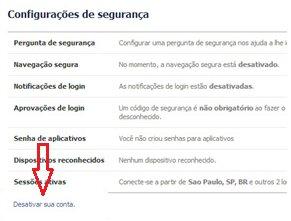 Página para desativar conta do Facebook