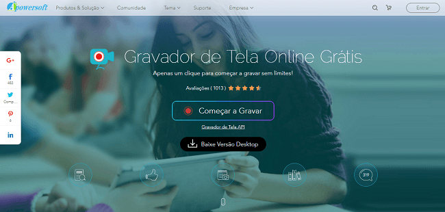 Tela do site para download