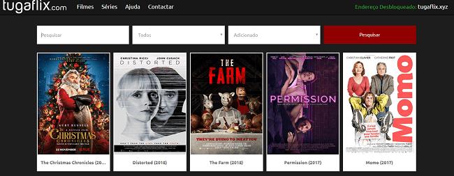 Exemplo de filmes encontrados