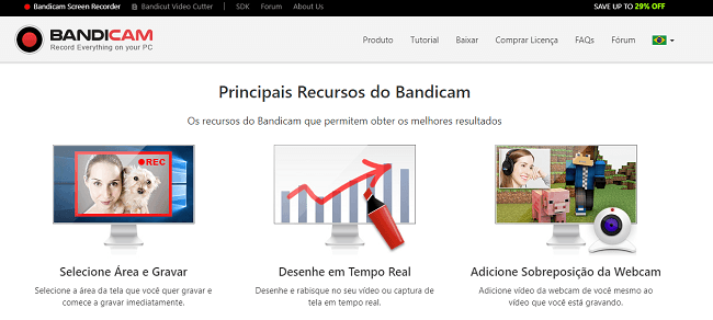 Principais vantagens do site
