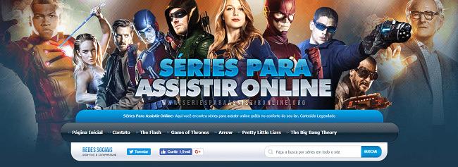 Página inicial do site para buscar pelo filme ou série