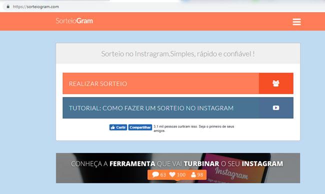 SorteiaGram é utilizado para fazer sorteios gratuitamente no Instagram