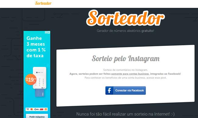 O Sorteador é um site para fazer sorteios no Instagram