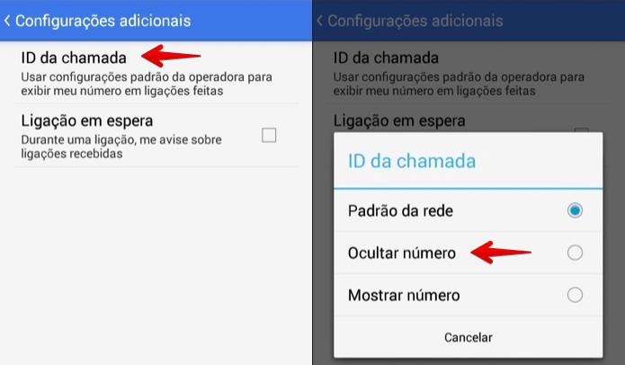 Número desconhecido Android