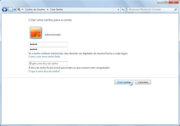 alterar senha windows 7