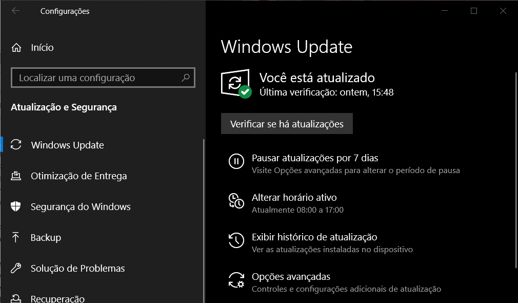 Pausar windows update