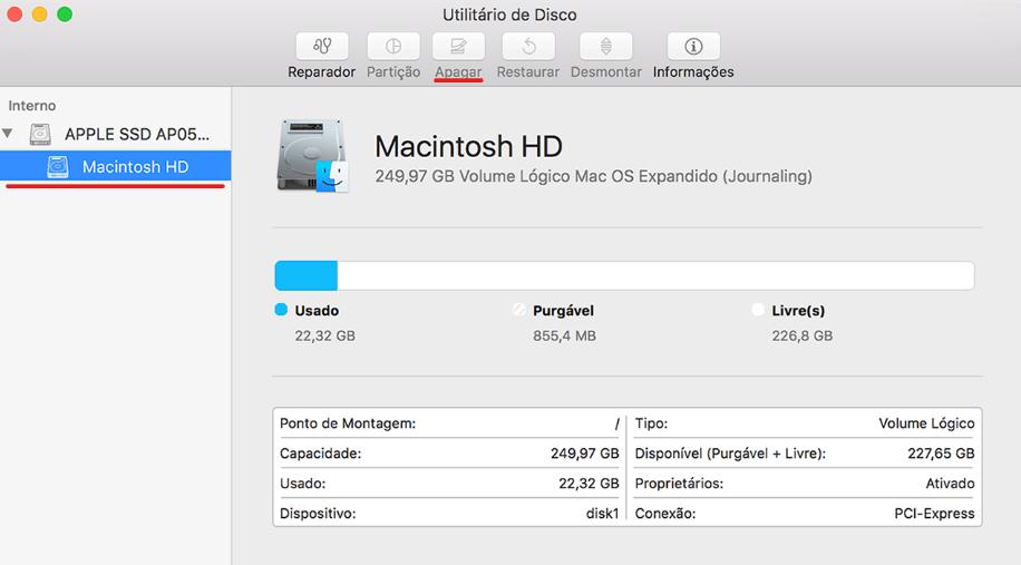 deletar mac