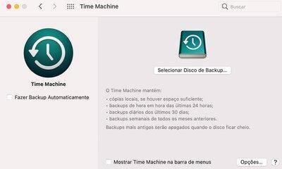 tela inicial time machine - Mac