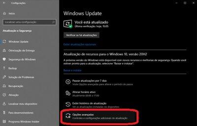 opções avançadas do windows defender
