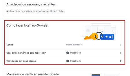 opção de como fazer login no google - mudar a senha