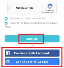 acessar ou criar conta no site Desygner
