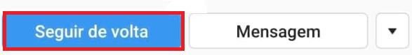 Botão azul instagram seguir pessoa de volta