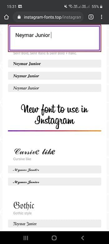fonte stories instagram