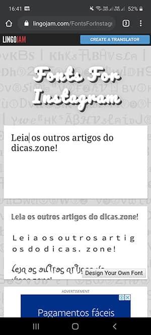 mudar letra instagram bio