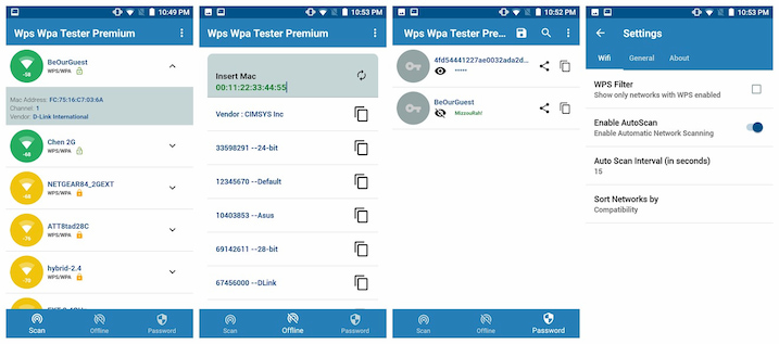 WiFi WPS WPA Tester Android app