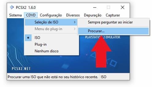 Escolha a ISO do jogo no PCSX2