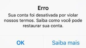 Conta do Instagram Suspendida