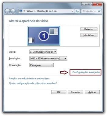 configuração avançadas de resolução de tela
