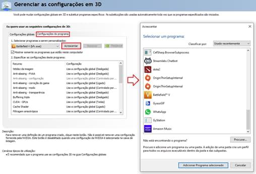 informações de gerenciador de configurações em 3D