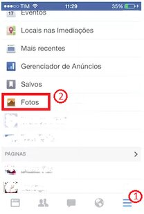 Primeiros passos para excluir foto do facebook no ios