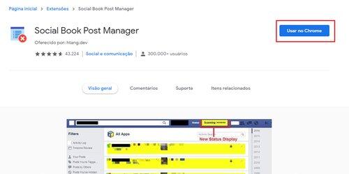 Extensão do Chrome Social Book Post Manager