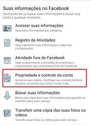 Propriedade e controle de conta do Facebook