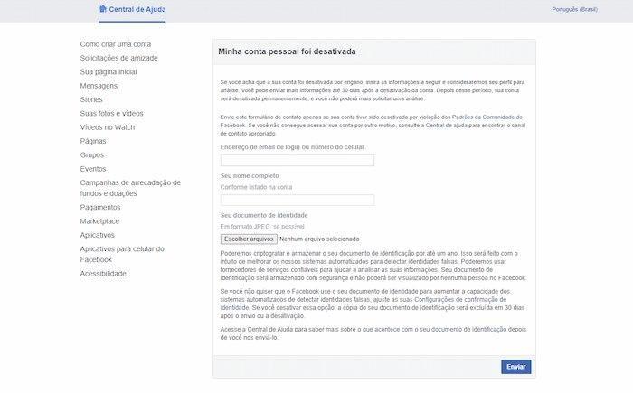 Recuperar conta do Facebook desativada por violação