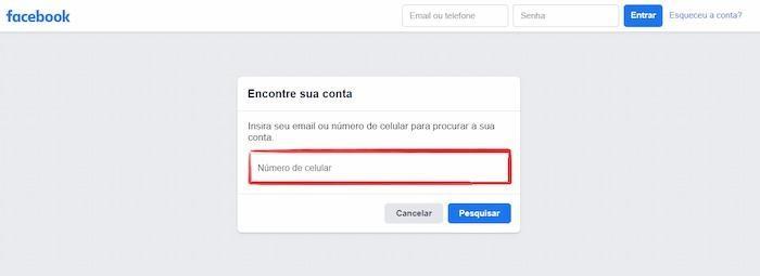 Mudar senha do Facebook pelo número de celular