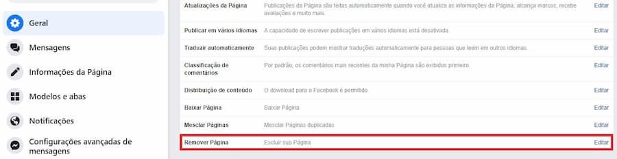 Excluir página do Facebook