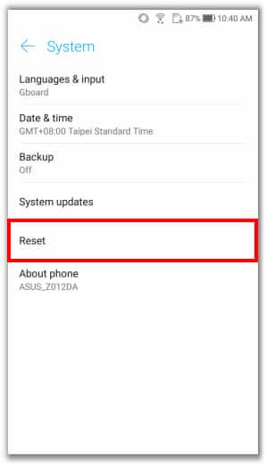 Resetar celular Asus